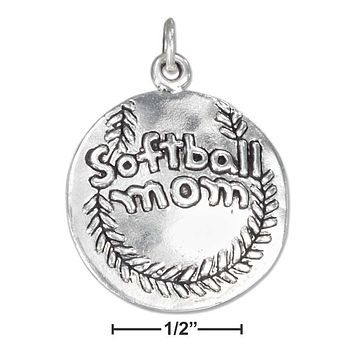 """STERLING SILVER ANTIQUED SOFTBALL WITH """"SOFTBALL MOM"""" CHARM"""
