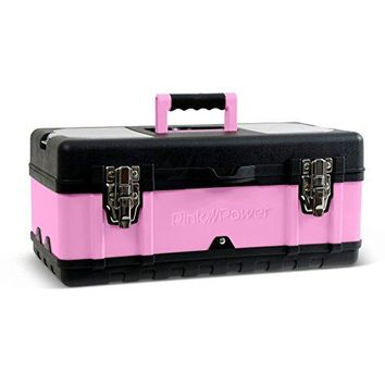 """Pink Power 18"""" Portable Aluminum Tool Box for Tool or Craft Storage- Locking Lid and Extra Storage Compartments"""