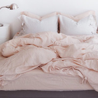 READY TO SHIP Washed Blush Linen Soft King Size Bedding Set