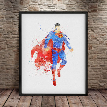 Superman print, Superman poster, Superhero print, superhero superman wall art, Nursery, Kids Bedroom Decor, Baby, Giclee Art, Decor -a10