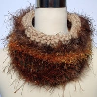 Autumn / Fall. Women's / teenager's hand knitted freestyle infinity cowl / scarf / neckwarmer.