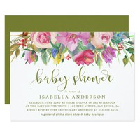 Floral Watercolor & Baby Shower Script on Green Card