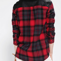 Lucca Couture Vegan Leather-Trim Flannel Shirt
