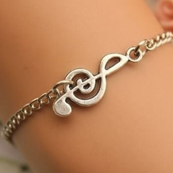 Cute signs bracelet,retro silver music sign pendant bracelet = 1652909956