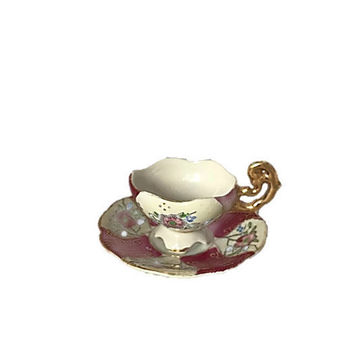 Cup Demitasse Teacup Espresso Cup with Saucer HB China Rose Red with Roses and Gold Trim, MidCentury Bone China