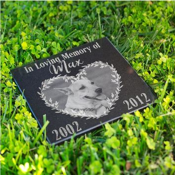 Personalized Memorial Pet Stone Granite - Engraved Headstone with YOUR Pets Photo Burial Cemetery Stone, Grave Marker for Best Companion #12