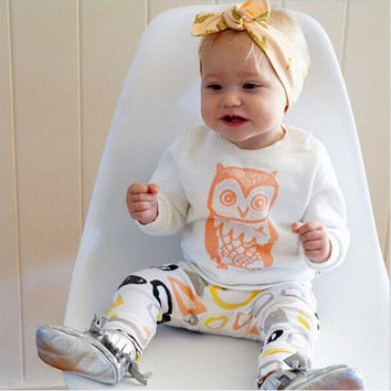 New 2016 baby girl clothes cotton cartoon owl long sleeved t-shirt+pants newborn infant 2pcs suit baby girls clothing sets