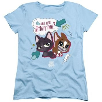 Littlest Pet Shop Womens T-Shirt Are You Kitten Me Light Blue Tee
