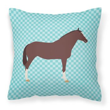 English Thoroughbred Horse Blue Check Fabric Decorative Pillow BB8087PW1414