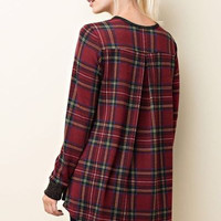 Hi low plaid charcoal long sleeve top