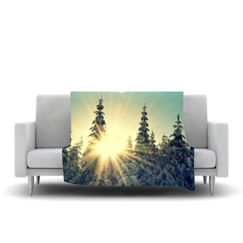 "Robin Dickinson ""Shine Bright"" Snowy Trees Fleece Throw Blanket"