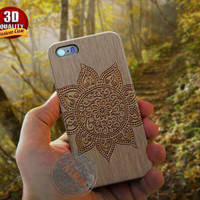 Mandala Pattern Case, Wood Crafted for Iphone 4, 4s, Iphone 5, 5s, Iphone 5c, Samsung Galaxy S3, S4, S5, Samsung Galaxy Note 2, Note 3.