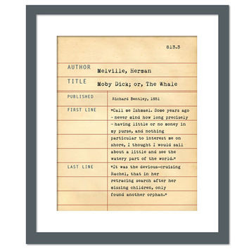 Moby Dick by Herman Melville Library Card Art Print - Book Lovers Poster - Library Poster - Book Gift - Dewey Decimal System - Literary