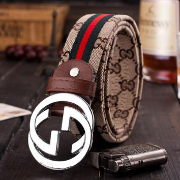 """Gucci"" Unisex Fashion Personality Classic Multicolor Stripe Double GG Letter Needle Buckle Canvas Waistband Belt"