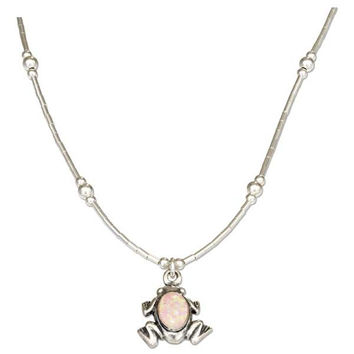 "16"" Liquid Silver and Synthetic Pink Opal Frog Necklace"