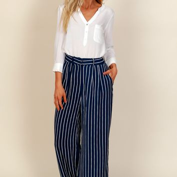 Pin Me Down Striped Pants Navy/White