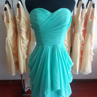 Customized sweetheart bridesmaid dress short bridesmaid dresses chiffon dress wedding dress prom dress cheap bridesmaid dress color#134