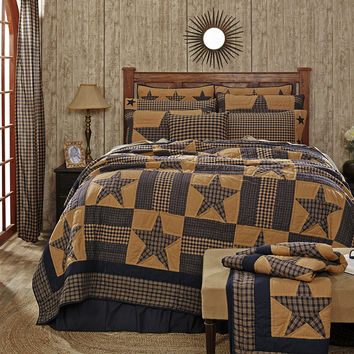 Teton Star - Queen - 14-pc Deluxe Patchwork Quilt Set - Navy Blue & Tan - Complete with Valance, Skirt, Toss Pillows, Pillow Cases - Country Stars