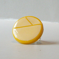 Vintage Yellow Lemon Earring Adjustable Ring, Eco-Friendly Ring, Vintage Earring, Upcycled Jewelry