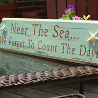 Beach Sign Near The Sea Coastal Beach House Nautical Decor Nursery Decor Sea glass Green