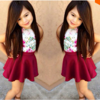 Girls No Sleeve Top and Skirt 2 PC Outfit