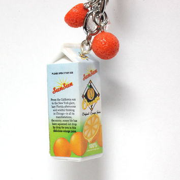 Miniature Food Keychain Accessory  Kawaii orange by BitOfSugar