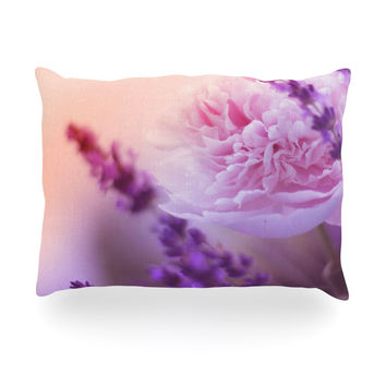 "Monika Strigel ""Peony and Lavender"" Pink Purple Oblong Pillow"