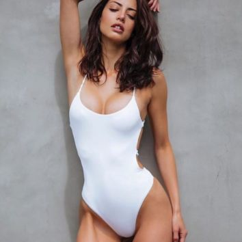 New woven solid color big backless sexy one-piece swimsuit swimsuit high waist