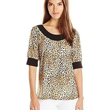Star Vixen Womens Elbow Dolman Puff Sleeve Ity Knit Top with Cuffs and Neck Band