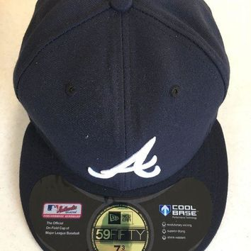 ICIKIHN ATLANTA BRAVES MLB NEW ERA 5950 NAVY WHITE 'A' FITTED HAT