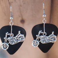 Motorcycle Earrings, Biker Guitar Pick Jewelry, Silver Dangling Bikes, Choice 12 Colors, Hot Rod Pierced or Clip On Earrings