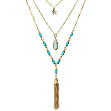 Posh Turquoise Beads Long Necklace
