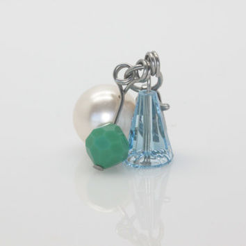 Swarovski Dangle - Blue & Green.  Charm.  Origami Owl.  Locket Charm.