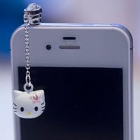Kawaii HELLO KITTY BELL Iphone Earphone Plug/Dust Plug - Cellphone Headphone Handmade Decorations