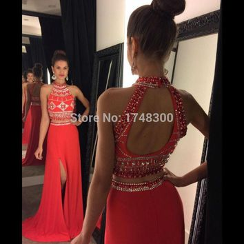 2016 New Arrival Style 2 Piece Halter Sleeveless Crystal Mermaid Prom Party Dresses Backless Side Slit Evening Women Dress Gown