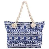 Elephant Canvas Beach Bag - 20-in (Blue)