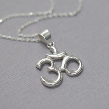 Sterling Silver Om Necklace, Sterling Silver Yoga Pendant on Sterling Silver Necklace Chain