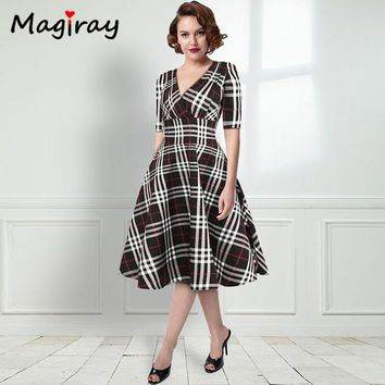 f47b0e195115 Magiray Retro Plaid Vintage Dress Women Cross Deep V Neck Floral Fit Flare  Summer Party Dress