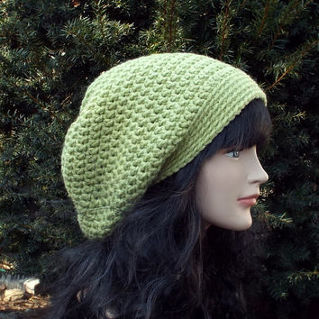 Light Green Slouch Beanie - Womens Slouchy Crochet Hat - Ladies Oversized Cap - Baggy Beanie - Chunky Hat