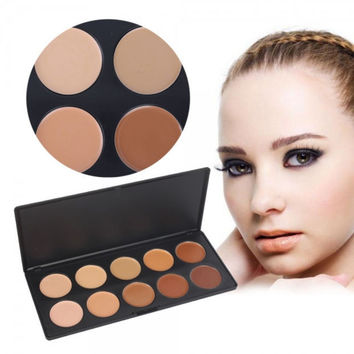 10 Color Professional Concealer Camouflage Cosmetic Makeup Palette with Foundation Brush Top Quality Gift + Free Shipping