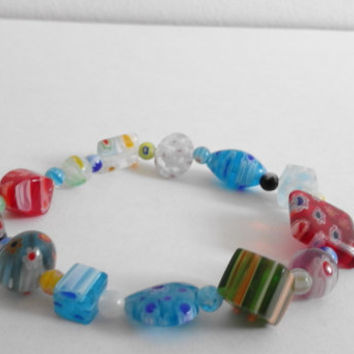 Multi Coloured Millefiori (Striped, Flowers, Dots, Shapes) Glass Beaded Stretchy Bracelet