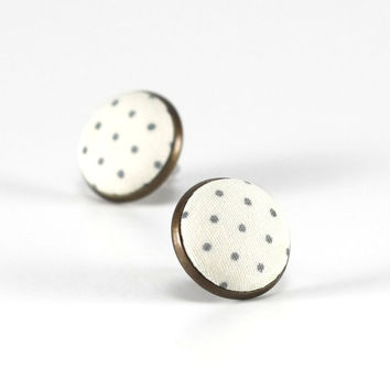 Ivory White Stud Earrings, Polka Dots Earring Studs, Green Dots Fabric Covered Buttons, Antique Bronze Shabby Elegance Earring Posts Jewelry