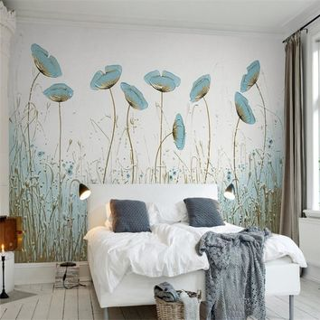 3D Custom Wallpapers Hand-painted Florals Wallpaper Watercolor Flowers Wall Papers for Living Room Bedroom Murals TV Backdrop