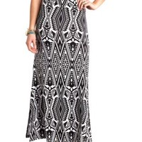 Tribal Print Double Slit Maxi Skirt by Charlotte Russe - Black/White