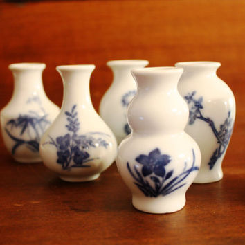 Vintage Lot of Six Miniature  Blue and White Asian Vases.