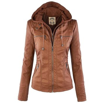 2016 Women's Faux Leather Jacket Long Sleeve Hat Removable Women Basic Coats Waterproof Windproof Women Jackets Female