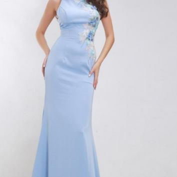 Formal Sky Blue Evening Dresses for Women O-neck Appliques with Stone Simple Elegant Floor Length Maxi Long Prom Gown