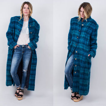vintage 90s blue PLAID mohair coat long maxi jacket duster oversized draped punk tartan aqua grunge shaggy