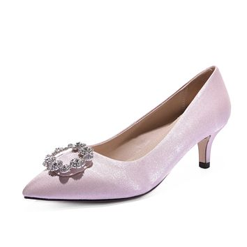 Pointed Toe Wedding Shoes Women Pumps Stiletto Middle Heels