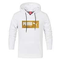 PUMA 2018 autumn and winter new style head sports and leisure hooded sweater white